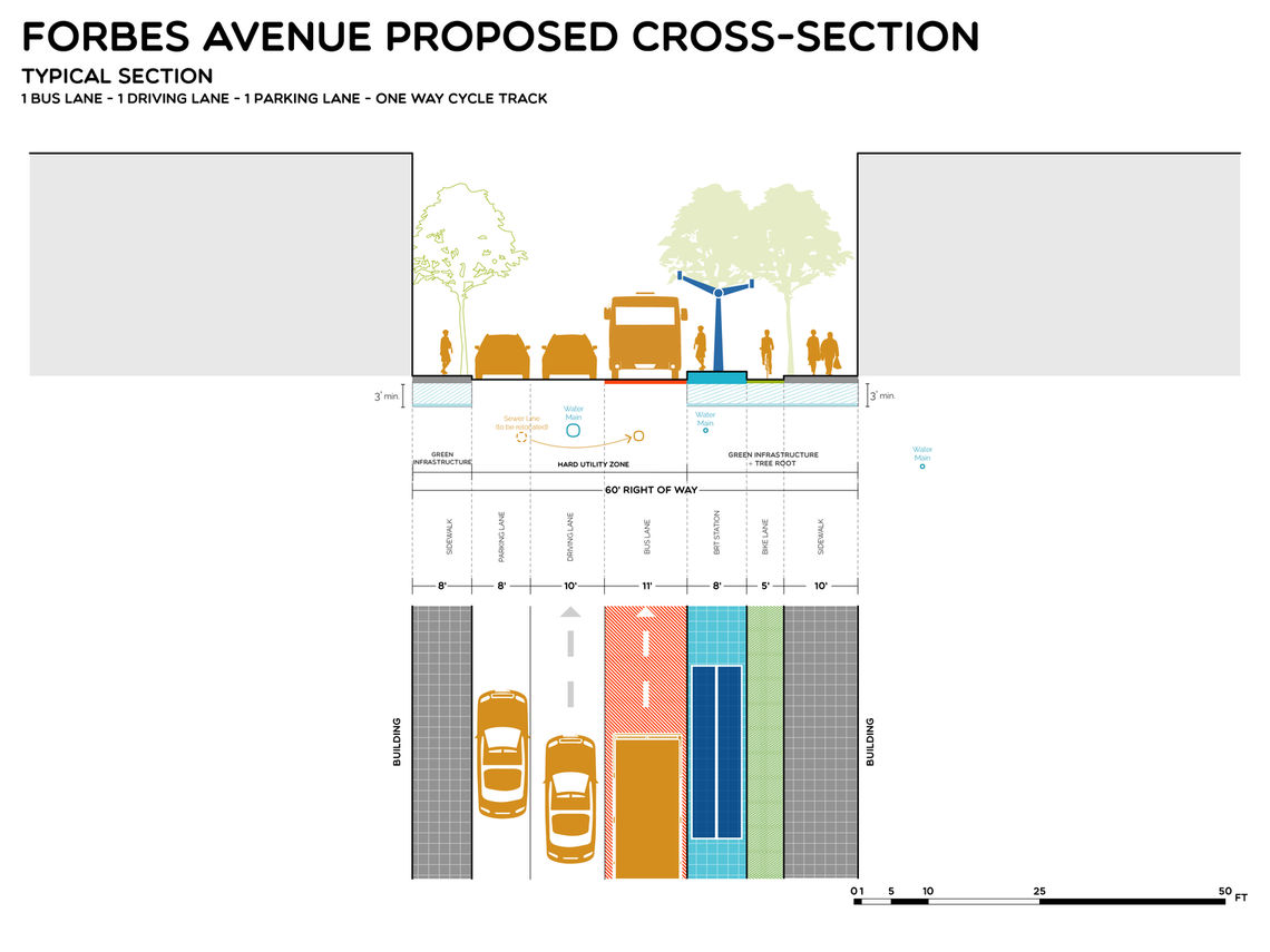 Proposed street section for Forbes designed to include space for cars, parking, bike and BRT